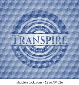 Transpire blue badge with geometric pattern background.