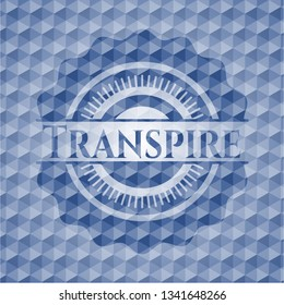 Transpire blue emblem with geometric background.