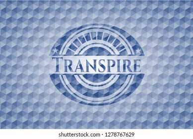Transpire blue emblem with geometric pattern background.