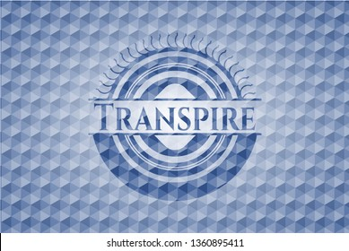 Transpire blue hexagon badge.