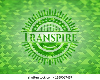 Transpire green emblem with mosaic ecological style background
