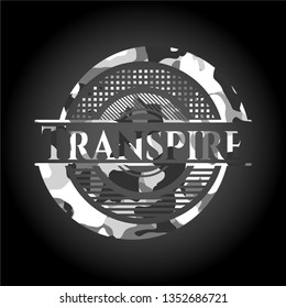 Transpire grey camouflaged emblem