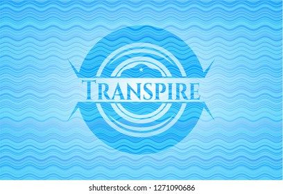 Transpire light blue water emblem.