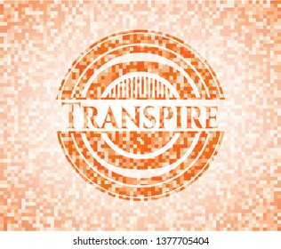 Transpire orange tile background illustration. Square geometric mosaic seamless pattern with emblem inside.