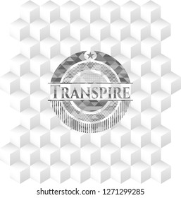 Transpire realistic grey emblem with cube white background