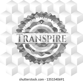 Transpire realistic grey emblem with geometric cube white background