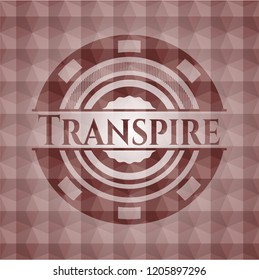 Transpire red emblem with geometric pattern background. Seamless.