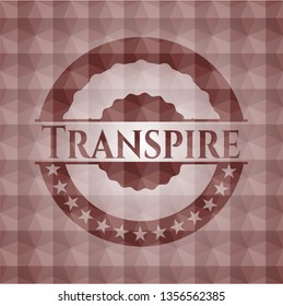 Transpire red emblem with geometric pattern. Seamless.