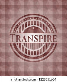 Transpire red seamless emblem or badge with abstract geometric polygonal pattern background.