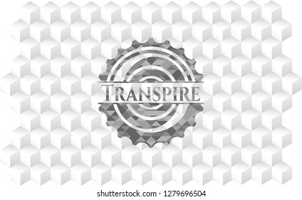 Transpire retro style grey emblem with geometric cube white background
