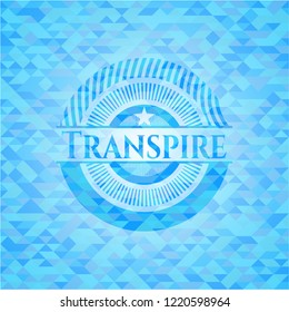 Transpire sky blue emblem with mosaic background