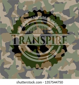Transpire written on a camo texture