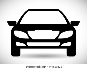 Transporation design represented by car silhouette icon. Flat and Isolated illustration.