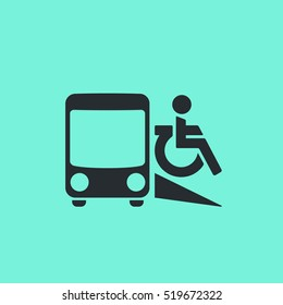 Transport accessibility icon. Paratransit. Deal-a-ride. Transit on demand. Door-to-door service pictogram.