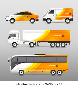 Transport advertisement design with cars bus and trucks in orange abstract identity isolated vector illustration