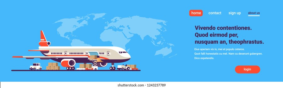 Transport airplane express delivery preparing flight. aircraft airport air cargo. International transportation concept. World map with background copy space. flat horizontal banner vector illustration