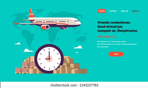 Transport airplane express delivery punctuality shipping parcel packages.  international transportation concept. World map background with flat horizontal copy space.