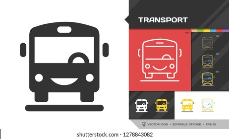Transport black glyph silhouette and editable stroke thin outline single icon with public bus vehicle transportation sign.