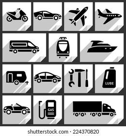 Transport black icons on white paper stickers-09