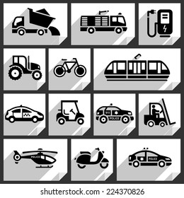 Transport black icons on white paper stickers-06