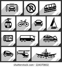 Transport black icons on white paper stickers-04