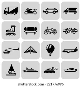 Transport black icons set with motorcycle car skateboard isolated vector illustration