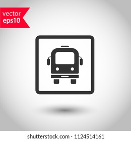 Transport bus vector icon. Bus front view icon. Vehicle icon. Studio background. EPS 10 vector sign.