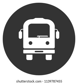 Transport bus vector icon. Bus front view icon. Vehicle icon. Gray background. Vector flat sign.