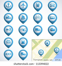 Transport buttons set with map. Vector illustration