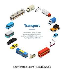 Transport Car 3d Banner Card Circle Isometric View Include of Bus, Truck, Taxi, Motor and Van. Vector illustration of Icon