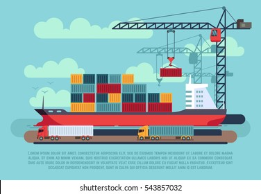 Transport cargo sea ship loading containers by harbor crane in shipping port vector illustration.