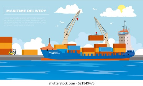 Transport cargo sea ship loading containers by harbor crane in shipping port vector illustration