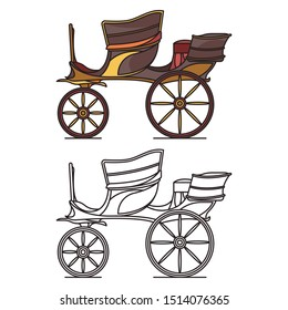 Transport carriage for wedding or marriage, vintage vehicle for person. Waggon on wheels or cab, retro dormeuse, classic stagecoach or old landau, clarence or brougham. Wheeled vehicle, transportation