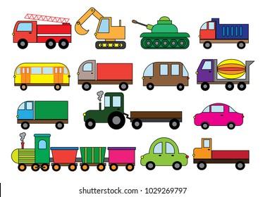Transport cartoon, set. Surface modes of transport. Car, bus, train, fire truck, concrete mixer, dump truck, truck, train, tractor, excavator and etc.Vector illustration.