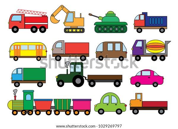 Image Vectorielle De Stock De Dessin De Transport Ensemble Modes