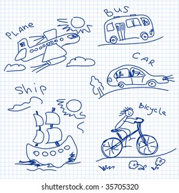 transport child drawing vector