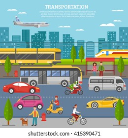 Transport in city poster with people and movement of airplane train tram bus individual vehicles vector illustration