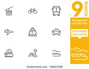 Transport collection. Expanded vector icon set