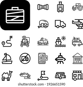 transport Collection Vector Icons Set. transport line icons also food delivery, baggage, pickup truck, garage, destination, sledge, hoverboard, distribution, boat, electric car