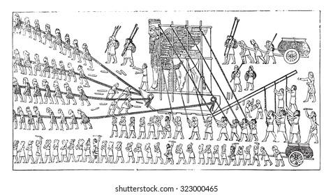 Transport of a colossus, vintage engraved illustration.