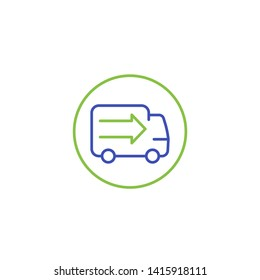 transport, delivery truck vector line icon