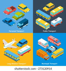 Transport design concept set with public personal long-distance and municipal isometric icons set isolated vector illustration