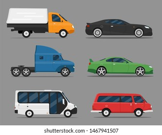 Transport design icon set over grey background, vector illustration