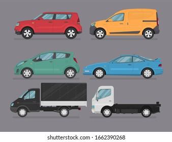 Transport design on grey background. van, truck, suv, sport car, hatchback, cartoon vector illustration