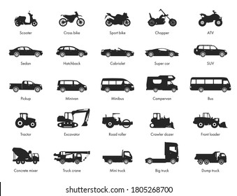 Transport design over white background, vector illustration. Collection car icon set. Motorcycle, car, bus, special machinery