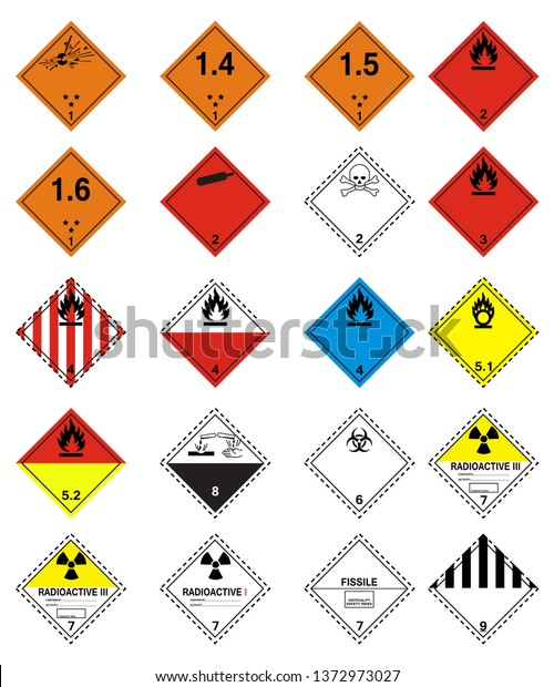 Transport Hazard Pictograms Globally Harmonized System Stock