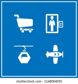 transport icon. 4 transport vector set. man in an elevator, aeroplane, shopping cart and gondola icon icons for web and design about transport theme