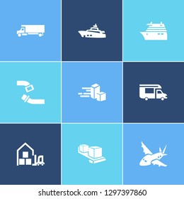 Transport icon set and aircraft with cruise ship, campervan and yacht. Vessel related transport icon vector for web UI logo design.