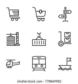Transport icon set collection. Editable stroke vector.