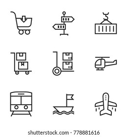 Transport icon set collection. Editable stroke line vectors